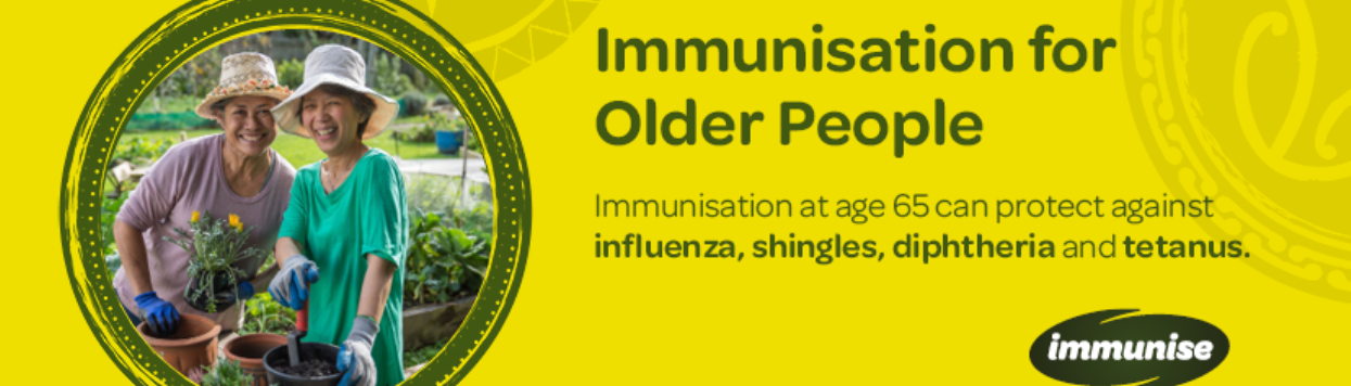 Immunisation for older people. Immunisation at age 65 can protect against influenza, shingles, diphtheria, and tetanus.